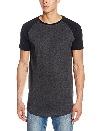 Urban Classics Shaped Melange Long Tee, Camiseta para Hombre, Grau (Charcoal 91), Small amazon el-negro Algodón