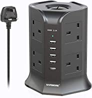 Safemore Extension Cord Lead Electrical Surge Protector Adapter Multi Way Outlet Sockets 4 USB (2.1A Output) P