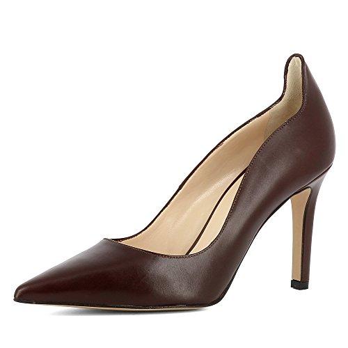 NATALIA cuir escarpins femme lisse marron foncé FrFZqPx