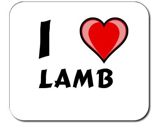 Mauspad mit Aufschrift Ich liebe Lamb (Vorname/Zuname/Spitzname)