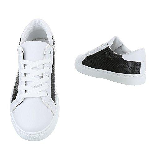 Low-Top Sneaker Damenschuhe Low-Top Sneakers Schnürsenkel Ital-Design Freizeitschuhe Schwarz Weiß FC-S25