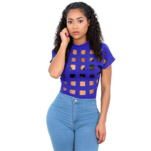CYBERRY.M T-shirt Summer Femme Manche Courtes Hole T-shirt Blouse Bleu