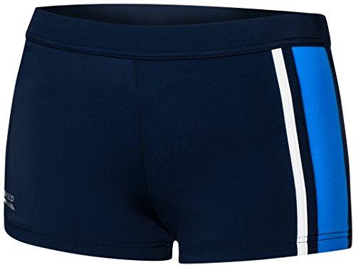 Aqua Speed® AMOS Herren Badehose | Schwimmhose | S-XXXL | Modern | Malaga Gewebe UV-Schutz | Chlor resistent | Kordelzug, Größe:XXXL, Farbe:42 Navy Blue White -