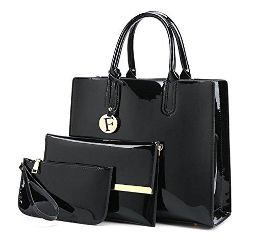 Frauen-Lackleder-Handtasche Dreiteilige Europäische Und US-Damen-Mappen-Schulterbeutel Kurierbeutel Black