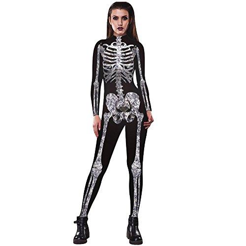 mpsuits Damen Ghosts Menschliches Skelett Muster Langarm Jumpsuit Overall Halloween Costumes Kleidung Skull Cult Horror ((Größe):38 (L), Schwarz) (Damen Skelett Jumpsuit)