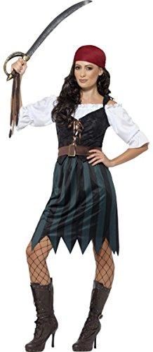 Damen Erwachsene Fancy Sexy Party Komplettes Outfit Kostüm Pirate Deckhand Kleid Gr. UK Kleid 36, blau