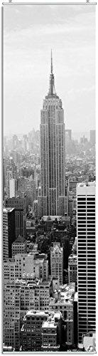 """Schiebegardine """"New York"""" schwarz-weiß Digitaldruck mit Paneelwagen, Klemmleiste, Schiebevorhang mit Flauschband (oben angenäht) 245 x 60 cm"""