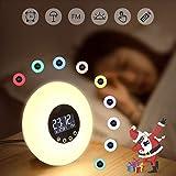 Réveil,Réveil Lumière Coucher de Soleil Simulation Lampe de Chevet 10 Couleurs 10 Luminosité 51 Sons Radio FM Protection Contour des Yeux Touch Control Fonction Kids Night Light USB