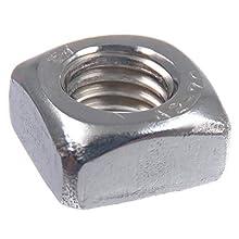 SECCARO - Dado quadrato M8, acciaio inox V2A VA A2, DIN 557, forma normale, 20 pezzi