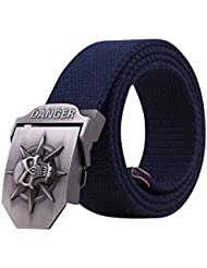 """Menschwear Cintura De La Lona De Hebilla De Correa Pretina Tejida Para Hombre Cinturones De Hebilla Automática Metal Ajustables 45"""""""