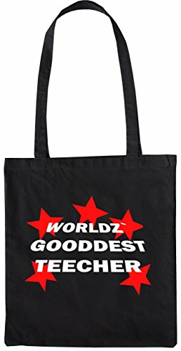 Mister Merchandise Tote Bag Worldz Gooddest Teacher Lehrer Borsa Bagaglio , Colore: Nero Nero