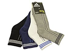 Adidas Men's AD-416 Half Cushion Quarter Socks, Blue Depths/Black/White-Strong Blue,Grey Mel (Pack Of 4)