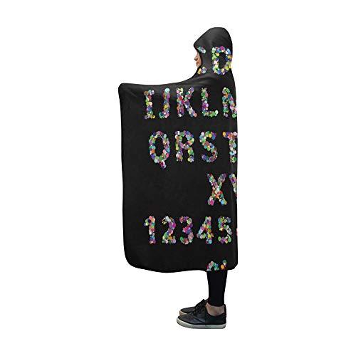 JOCHUAN Mit Kapuze Decke englisches Alphabet Decke 60 x 50 Zoll Comfotable Hooded Throw Wrap -