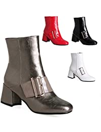 c4d02eb5 WSR Botas para Mujer: Botas de Otoño E Invierno/Botines con Punta/Botas de Tacón  Alto de 6 cm Martin / 34…