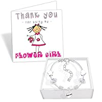 Flower Girl White Leather Charm Bracelet and Thank You Card Gift Set Girls Wedding Jewellery (1. Sparkly Silver)