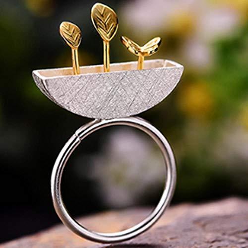 WGY Ringe 925 Sterling Silber Schmuck My Little Garden Open Damenringe Memorial Schmuck Geburtstage Unregelmäßig, A -
