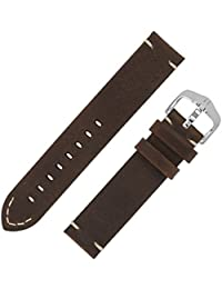 ac23bd64529 Hirsch RANGER Retro Leather Parallel Watch Strap with Buckle in GOLD BROWN  (22mm