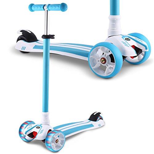 WeSkate Dreiradscooter für Kinder Kinderroller mit PU LED Leuchten Räder und 3 Stufen Einstellbare Höhe Doppel-Hinterrad Big Wheel für Kinder 3-12 Jahre alt