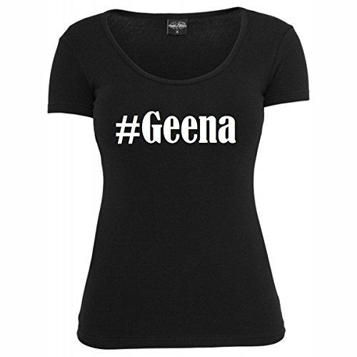 T-Shirt #Geena Hashtag Raute für Damen Herren und Kinder ... in den Farben Schwarz und Weiss Schwarz