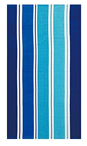 100% Pure Cotton Luxury Miller Stripe Blue Beach Towel - Modern Design, 75x150cms