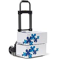 Relaxdays Sackkarre für max 70 kg HBT: 96,5 x 39 x 42 cm Transport-Trolley aus Eisen & Kunststoff mit Teleskop-Griff Handkarren mit großen Rollen als Gepäck-Trolley für Umzug und Auto, metallic