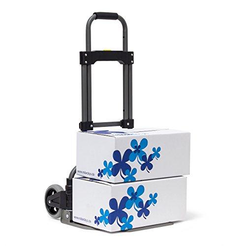 Relaxdays Sackkarre für max 70 kg HBT: 96,5 x 39 x 42 cm Transport-Trolley aus Eisen & Kunststoff mit Teleskop-Griff Handkarren mit großen Rollen als Gepäck-Trolley für Umzug und Auto, metallic (Roller Gepäck Trolley)