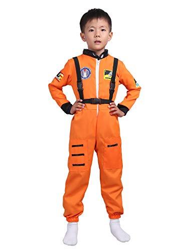YiZYiF Kinder Langarm Jumpsuit Astronauten Kostüm für Kinder Mädchen Jungen Rollenspiel Kostüm Outfit Für Verkleidung Fasching Cosplay Orange 116-128/6-8 Jahre Orange 104-116