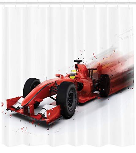 ABAKUHAUS Macchine Tenda da Doccia, Formula 1 Auto Racing, Stampa Digitale su Tessuto, 175 x 200 cm, Rosso Nero