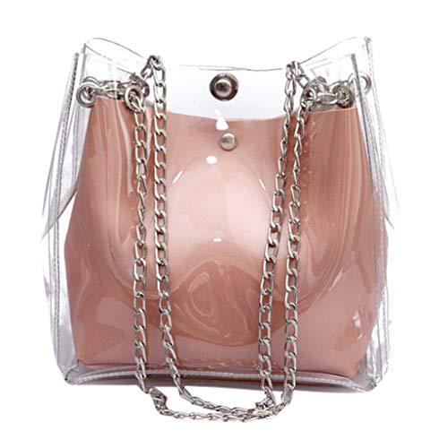 holitie Women Freizeit Messenger Shoulder Bag Shopper Handtasche Small Transparent Bucket Bags Chain Bag Totes Compound Female Mini Shopper Bag -