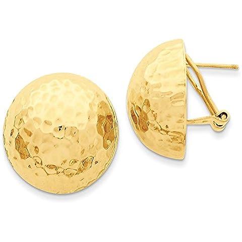 14K oro martellato Omega Indietro post orecchini