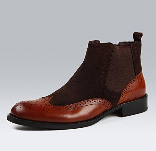 Heart&M punta tonda per il taglio alto business casual maschile glassato Martin stivali in pelle scamosciata coffee