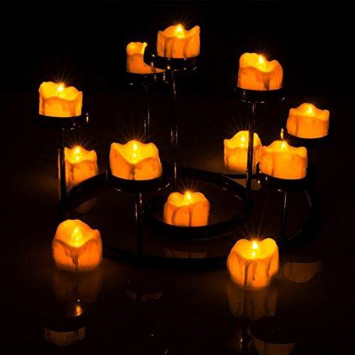 Tea Lights LED Flameless Candle con pilas 12 ámbar amarillo Navidad, día de San Valentín, fiesta de bodas