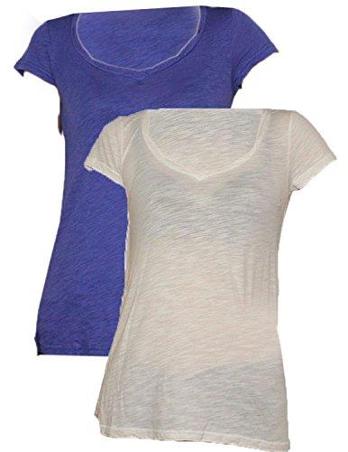 Designer Brand - T-shirt - Femme - Indigo Blue & White