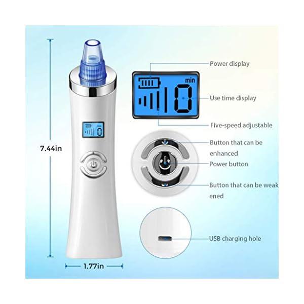 Limpiador de Poros, Aspiradora Limpiadora de Poros, Puntos Negros Nariz, Kit de Eliminación de Cabezal Recargable con 5 Cabezas Reemplazables,Azul