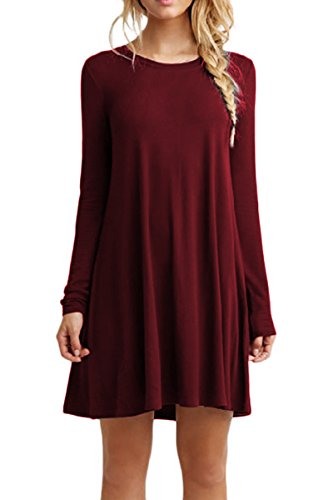OMZIN Damen Long Sleeves Tunika Tops Casual Swing Shirt Kleid Weinrot XS -