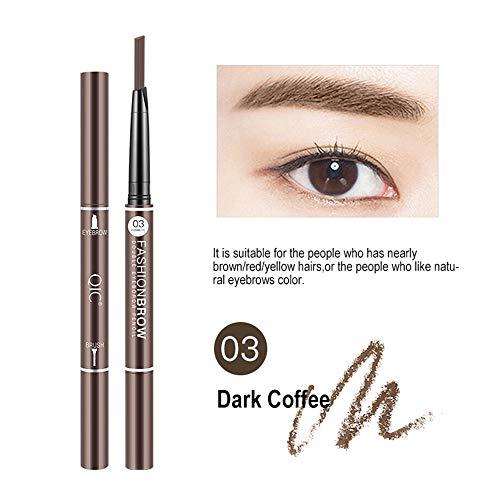 Cooljun 2 en 1 Double extrémité Crayon Sourcil waterproof stéréo marron noir blonde Maquillage Crayon Contour (C)