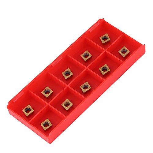 10pcs Zinnbeschichtetes CNC Hartmetall Einsatzschneider Wendeschneiddrehmaschine Fräseinsätze Drehwerkzeuge mit Schachtel CCMT060204-HM YBC251 für Stahlhalbschneiden
