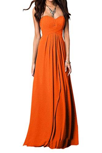 Ivydressing Damen Einfach A-Linie Ballkleider Promkleid Abendkleid Orange