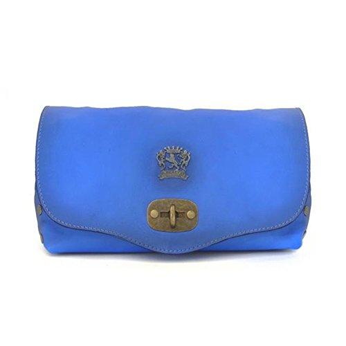 Pratesi Castel Del Piano borsetta in vera pelle - B161 Bruce (Giallo) Blu Elettrico