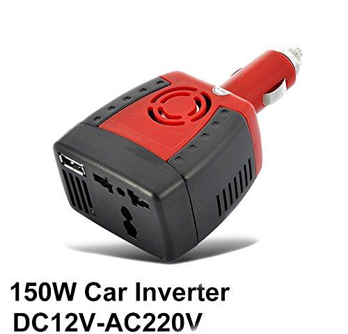 Easytar 150W Auto Leistungswechselrichter 12V auf 220V KFZ Umwandler, Wechselstrom Anschlussdose mit 2,1A USB Ladenschluss für Kfz-Ladegerät, modifizierte sinusförmige Welle–Rot (Verwendet Lg Bei&t Handys)