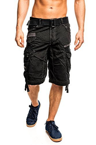 4H3 Geographical Norway People Herren Bermuda Shorts Kurze Hose Schwarz XXXL