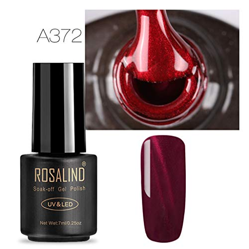 Vin Rouge 3D Cat Eye Eye Gel Gradient Étoilé Trempez Off Art Nail UV Polish