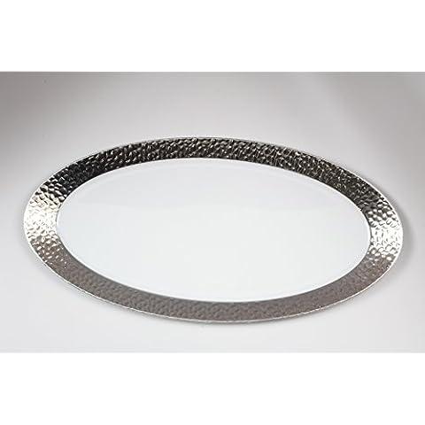 DECORLINE - martillado -Transparente con plata de vajillas desechables de plástico resistente elegante (Bandeja para servir oval 19x35 cm)