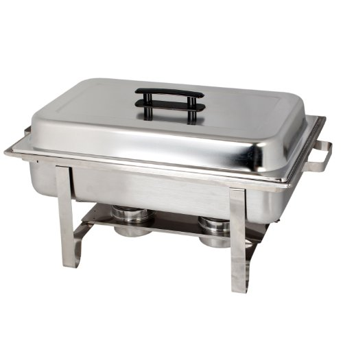 Thunder Group 8 Quart Oblong Stainless Steel Chafer Warmers Full Size Chafer includes 2 Free Chafing Fuel Gel Cans by Thunder Group (Steel Chafer)