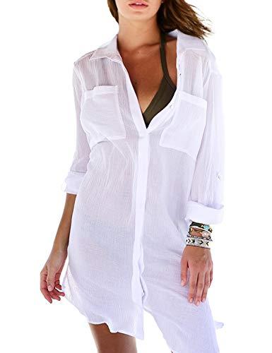 Chuangminghangqi copricostume mare donna copribikini costume da bagno camicia bluse lunga cover up spiaggia camicetta cardigan estivo (taglia unica, bianco)
