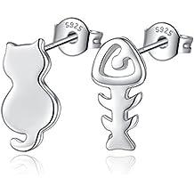 Fashmond- Boucles d'Oreilles Clous Chat et arête Poisson- Argent fin 925- Idée cadeau anniversaire