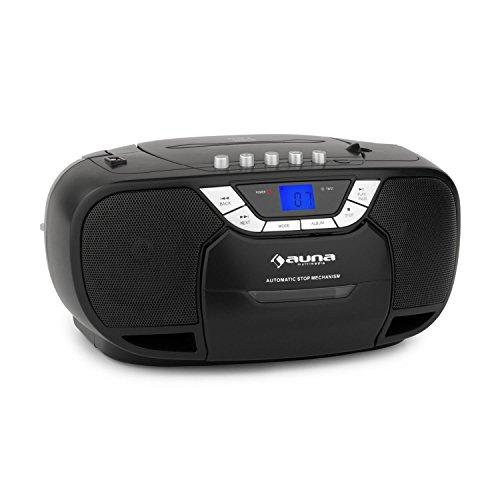auna BeeBoy Boom Box • CD-Radio • Boombox • Kassettenplayer • programmierbarer MP3- / CD-Player • Kassettendeck • UKW-Radio • MP3-fähiger USB-Port • AUX-Eingang • LCD • Stereo-Lautsprecher • Netz- / Batterie-Betrieb • Teleskopantenne • Tragegriff • tragbar • schwarz