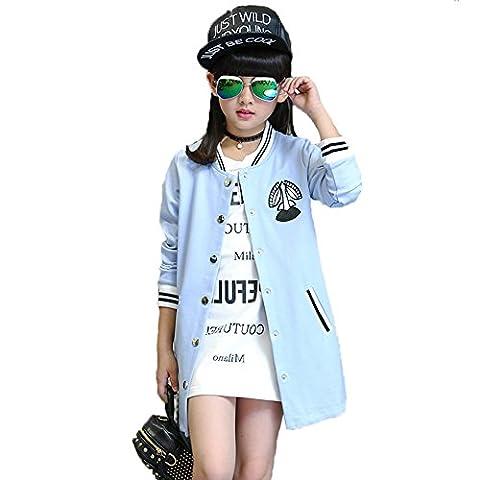 Enfants Fille Vêtements Manteau Coupe-vent Baseball Automne Mode Coton Décontractée Mince Manche Longue Tops Vestes Outwear Ceinture Baby ZYS , blue , 130cm