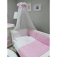 """Babymajawelt® Lecho del bebé SET """"CATS/gatos"""" 4 piezas juego de cama 135/100 cm VOILE para cuna 140/70 cm, Ropa de cama: bordado, protectores de cuna, dosel/baldacchino (mosquitera) rosa"""
