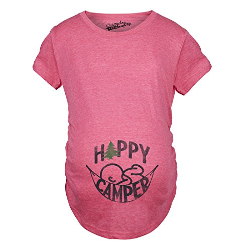 Crazy Dog Tshirts Maternity Happy Camper Pregnancy Tshirt Cute Cool Outdoors Baby Bump Tee (Heather Pink) -S - Damen - S
